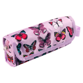 Vlinder etui roze multi pocket (5334)