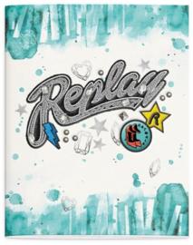 Replay girls A5 schriften blauw / roze (5823)