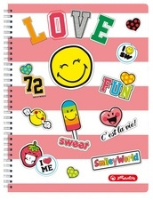 Smiley world collegeblok geruit A4 pink (8259)