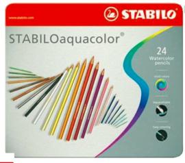 Stabilo aquacolor aquarel kleurpotloden 24st in blik