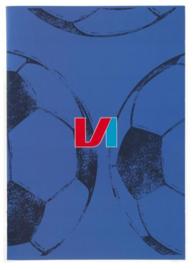 Voetbal international schrift A4 geruit blauw