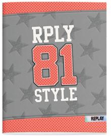 Replay A5 schriften lijn grijs/roze/zwart (2804)