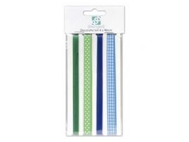 4 x 90cm lint groen / blauw