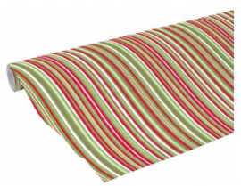 Kaftpapier dik streep rood/groen (4797)