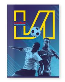 Voetbal international A4 schrift geruit (8493)