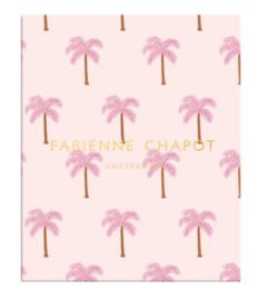 Fab. ringband 23r roze palmbomen (0892)