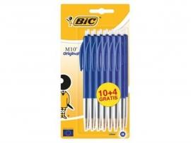 BIC M10 balpennen blauw 10+4
