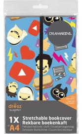 Dylan Haegens rekbaar boekenkaft A4 rd/bl (8919)