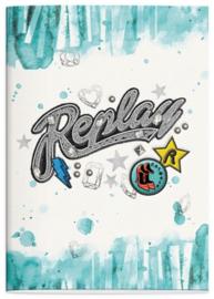 Replay girls A4 schrift ruitjes l.blauw (4208)