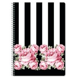 """Luxe A4 spiraalblok gelinieerd """"rozen streep"""" (3360)"""