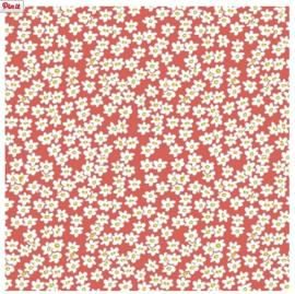 Kaftpapier dik flowers art red (2836)
