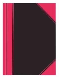 Budget notitieboek ruit zw/rood A4