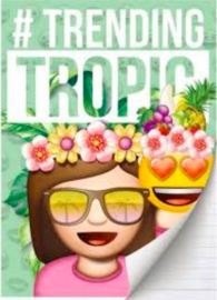 Emoji girls trending schrift A4 gelinieerd (0548)