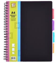 Projectboek / collegeblok A4 zwart 200 vel