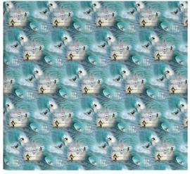 Surf lichtblauw kaftpapier (8323)