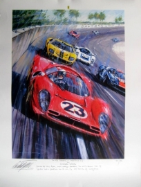 "Giclee ""On the Banking Daytona 1967"" Ferrari 330 P4 - Amon/Bandini"