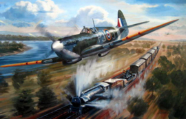 Spitfire MK5, Jacques Andrieux during a train attack - Fine Art Print