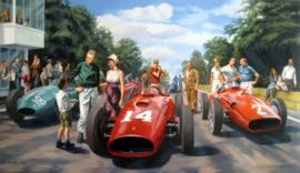 """Sunny Afternoon"" Rouen les Essarts 1957 - Mike Hawthorn/Peter Collins/Juan Manuel Fangio..."
