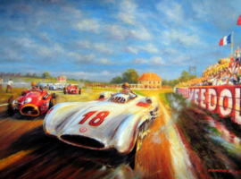 Grand Prix de I'ACF 1954 Reims - Art Print on HV Silk Mc 250 gr/m2
