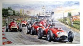"""""""Nürburgring 1957"""" - Ferrari DS50 #8/Mike Hawthorn - Ferrari DS50#7/Peter Collins - Ferrari DS50#5/Luigi Musso - Maserati 250F#1/Juan Manuel Fangio (Winner)"""
