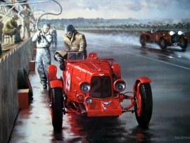 Art Lithograph - Night Stop-Le Mans 1935 - Aston Martin/Charles Martin - Artist : Keith Woodcock
