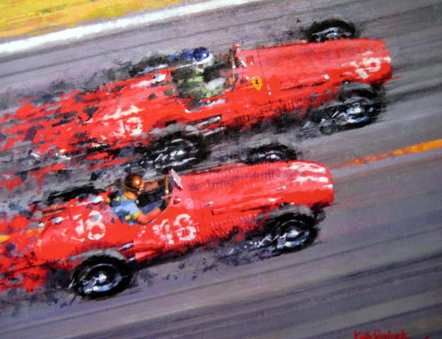 Ferrari #16/Mike Hawthorn (Winner) Maserari #18/J.M.Fangio - French Grand Prix, Reims - 1953