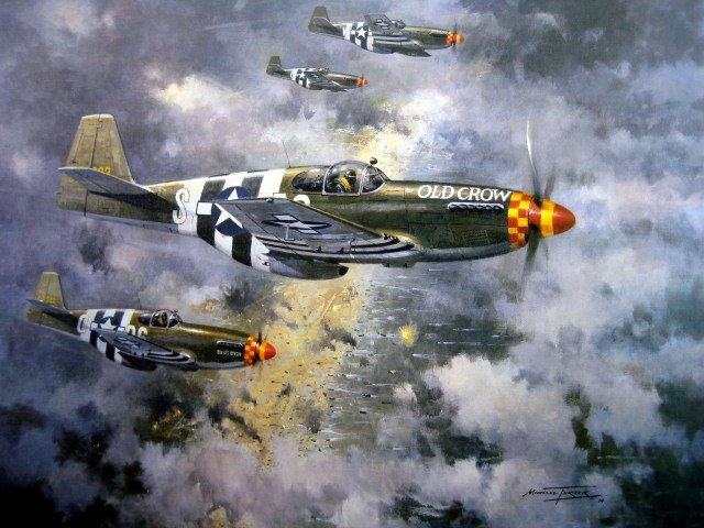 """American Patrol"" - USAAF P-51's  over the D-Day beaches 6th June 1944"