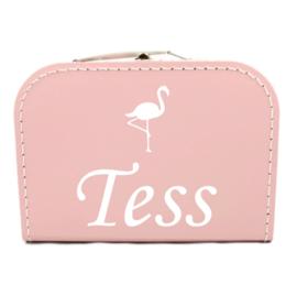 Koffertje met naam flamingo