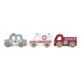 Houten hulpverleningsauto-set met of zonder naam - Little dutch