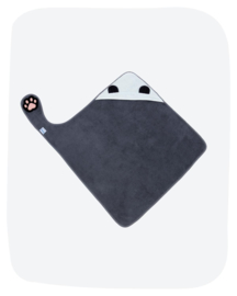 Badcape met een pootje - Zwart/wit panda