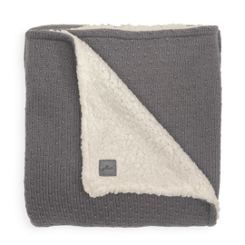Deken teddy 100x150cm Bliss knit Storm grey - Jollein