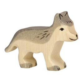 Houten wolf welp 6,5 cm - Holztiger