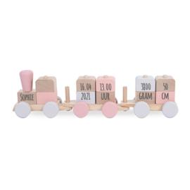 Speelgoedtrein pink met of zonder naam - Jollein
