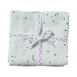 Set van twee hydrofiele doeken dreamy dots blauw - Done by Deer