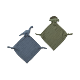 Knuffeldoek Yoko Mini Dino blue mix (2-Pack) - Liewood