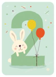 Kaart met envelop - 2 Bunny - Bora