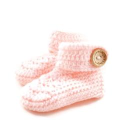 Gehaakte babyslofjes licht roze