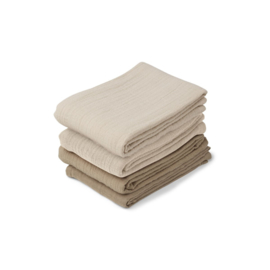 Leon hydrofiele doeken 4 Pack - Naturel/ sandy mix - Liewood