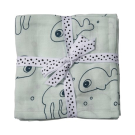 Set van twee hydrofiele doeken sea friends blauw - Done by Deer