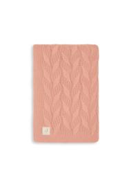Deken 100x150 cm Spring knit rosewood/coral fleece - Jollein