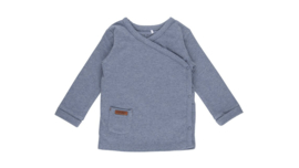 Overslag shirt blue melange - Little Dutch
