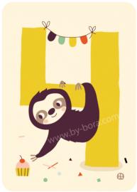 Kaart met envelop - 4 Sloth - Bora