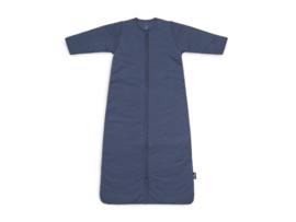 Baby slaapzak 110cm basic stripe jeans blue met afritsbare mouw - Jollein