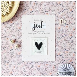 Ansichtkaart + zakje bloemzaadjes Bedankt juf dat je mij liet groeien & bloeien