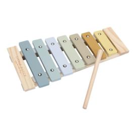 Houten xylofoon blauw met of zonder naam - Little dutch