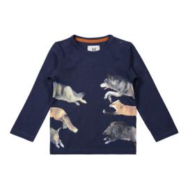 Longsleeve jongens shirt donkerblauw dieren - Koko Noko