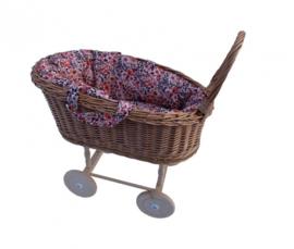 Rieten poppenwagen retro flowers