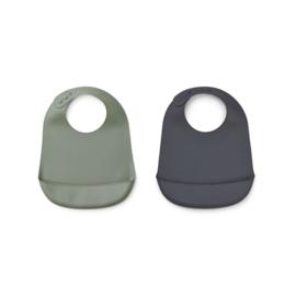 Siliconen slabben (2-pack) faune green / stone grey - Liewood