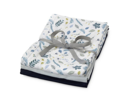 Set van drie hydrofiele doeken pressed leaves blue, babyblue en navy