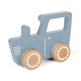 Houten traktor blauw met of zonder naam - Little dutch